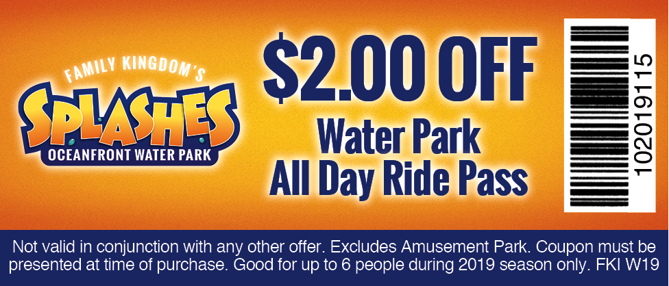 Family Kingdom Amusement Park and Splashes Oceanfront Water Park Coupon Myrtle Beach South Carolina